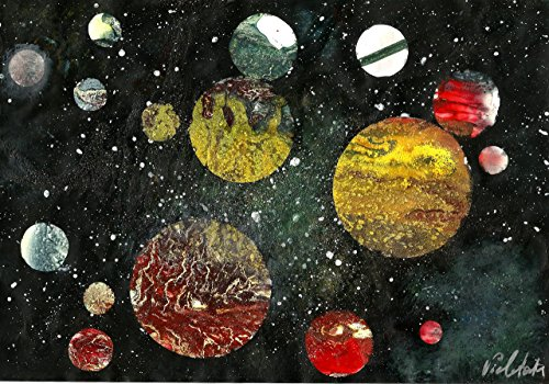Infinite Space, Original Acrylic Painting 11 x 8, Galaxy Planets, Art Cosmos, Colors Stars, fantasy painting