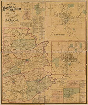 Vintage 1876 Map of Boyle & Mercer counties, Kentucky - Shows the names of some residents. - Relief shown by contours. - LC Land ownership maps, 226 - Available also through the Library of Congress Web site as a raster image. - Copy imperfect: Shellacked,