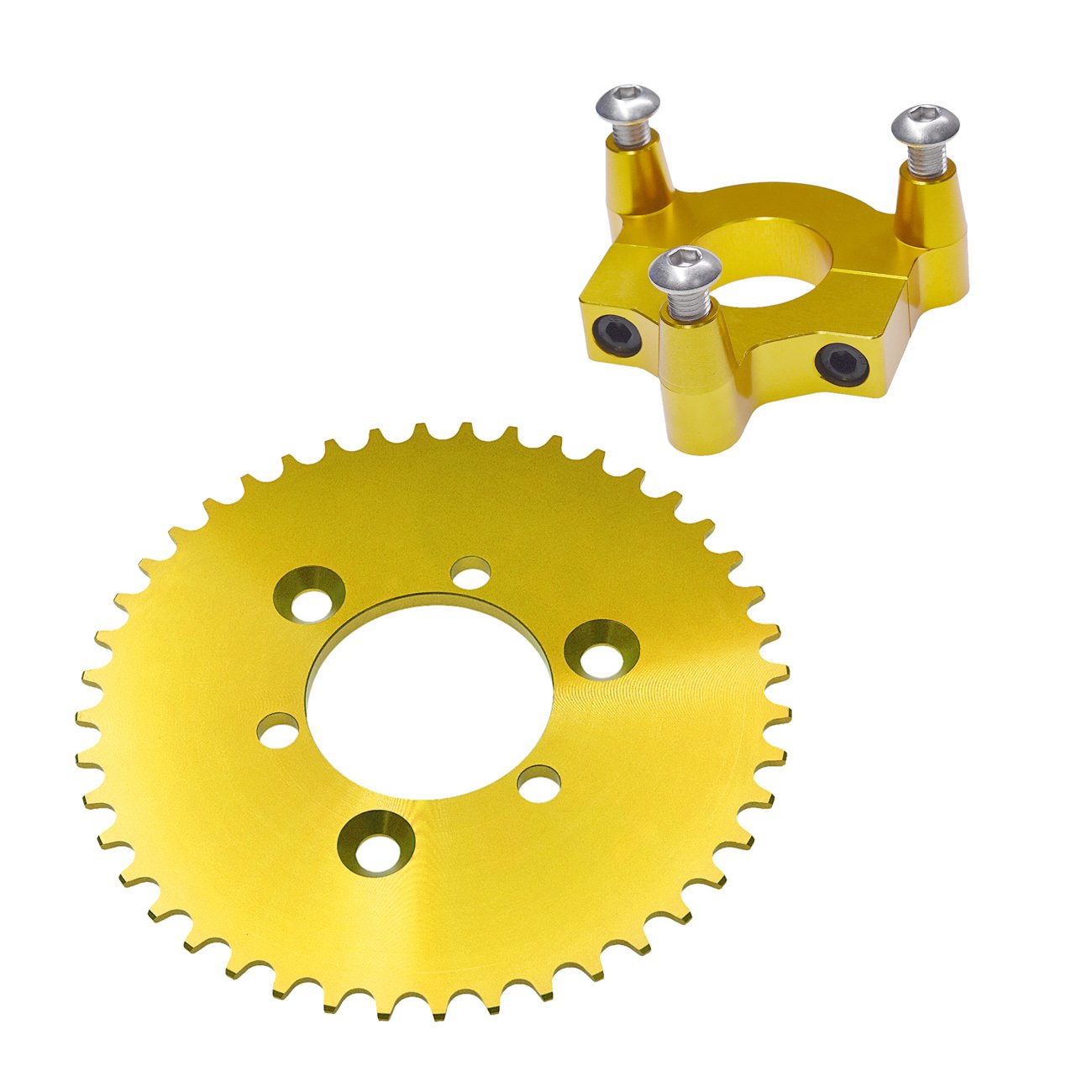sthus CNC Gold 44T Sprocket with 1.5 Adapter Fits 60cc 66cc 80cc Motorized Bicycle