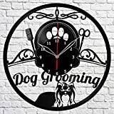 Dog Grooming Salon Vinyl Record Wall Clock Fan Art Handmade Decor Unique Decorative Vinyl Clock 12″ (30 cm) Review
