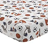 Bedtime Originals Baby League Sports Animals Fitted Crib Sheet, Blue/Orange