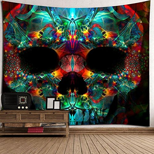 Wall Tapestry, Halloween Festive Atmosphere Wall Hanging Throw Blanket With Green Red Color Spooky Skeleton Skull Hippie Print Bohemian Mandala Wall Decorations Tablecloth Room Decor ( 79