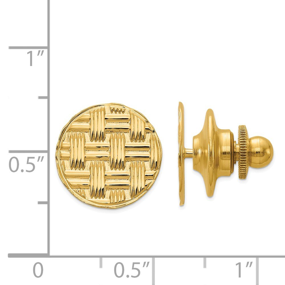 14K Yellow Gold Grooved Round Tie Tac by Accessory Tie Bar (Image #3)