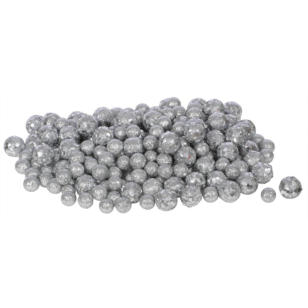 Vickerman 60ct Iridescent White Sequin and Glitter Christmas Ball Decorations 0.8 - 1.25 Northlight Seasonal VICKERMAN L132201