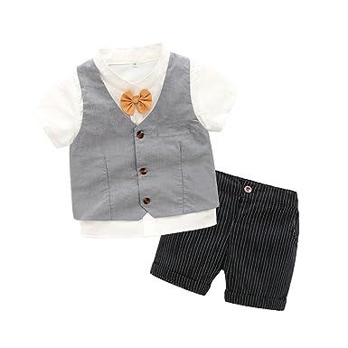 9db0879280e1f Bravolive(ブラボーライブ)子供 ボーイズ 半袖 フォーマル スーツ ストライプ柄 男の子 3点セット