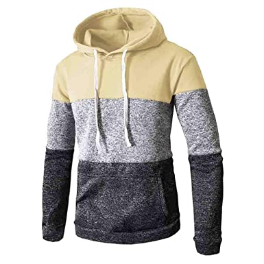 Hombre Manga Larga Sudadera JiaMeng Patchwork Invierno Casual Manga Larga Slim Pocket Fit Sudaderas con Capucha Blusa Top: Amazon.es: Ropa y accesorios