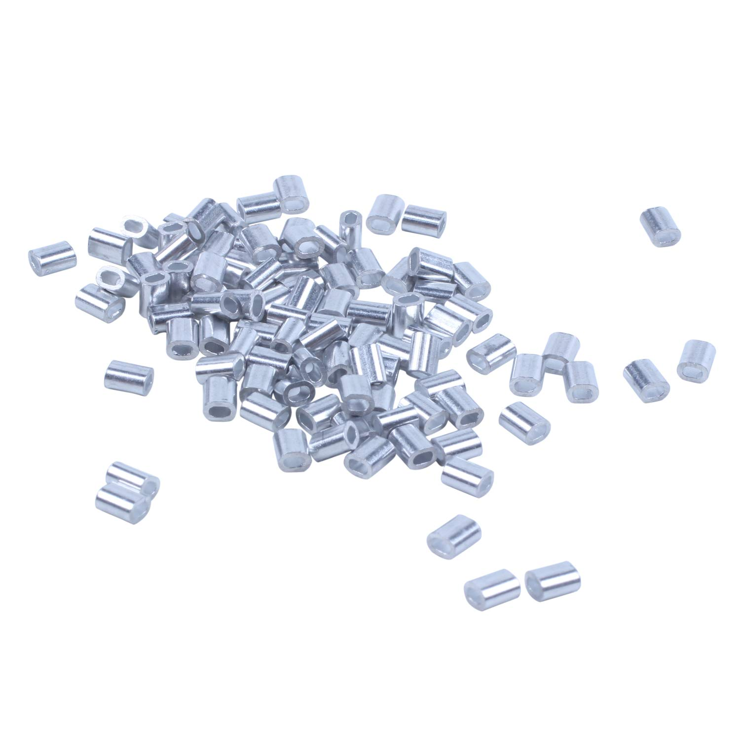 Hot Sale 100 Pcs Wire Rope Aluminum Ferrules Sleeve Clamp 1Mm Steel Silver Tone