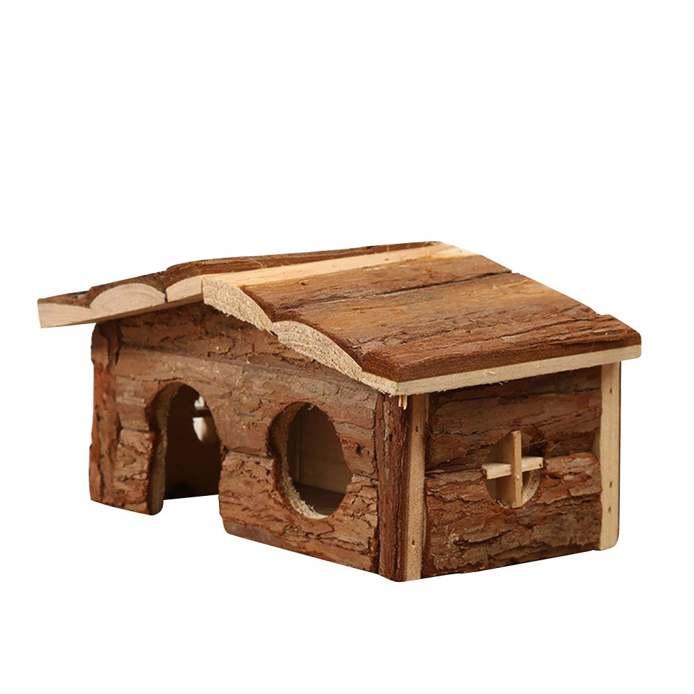 UEETEK Hamster Cage Natural Wooden House Hideout with Bark for Guinea Pig