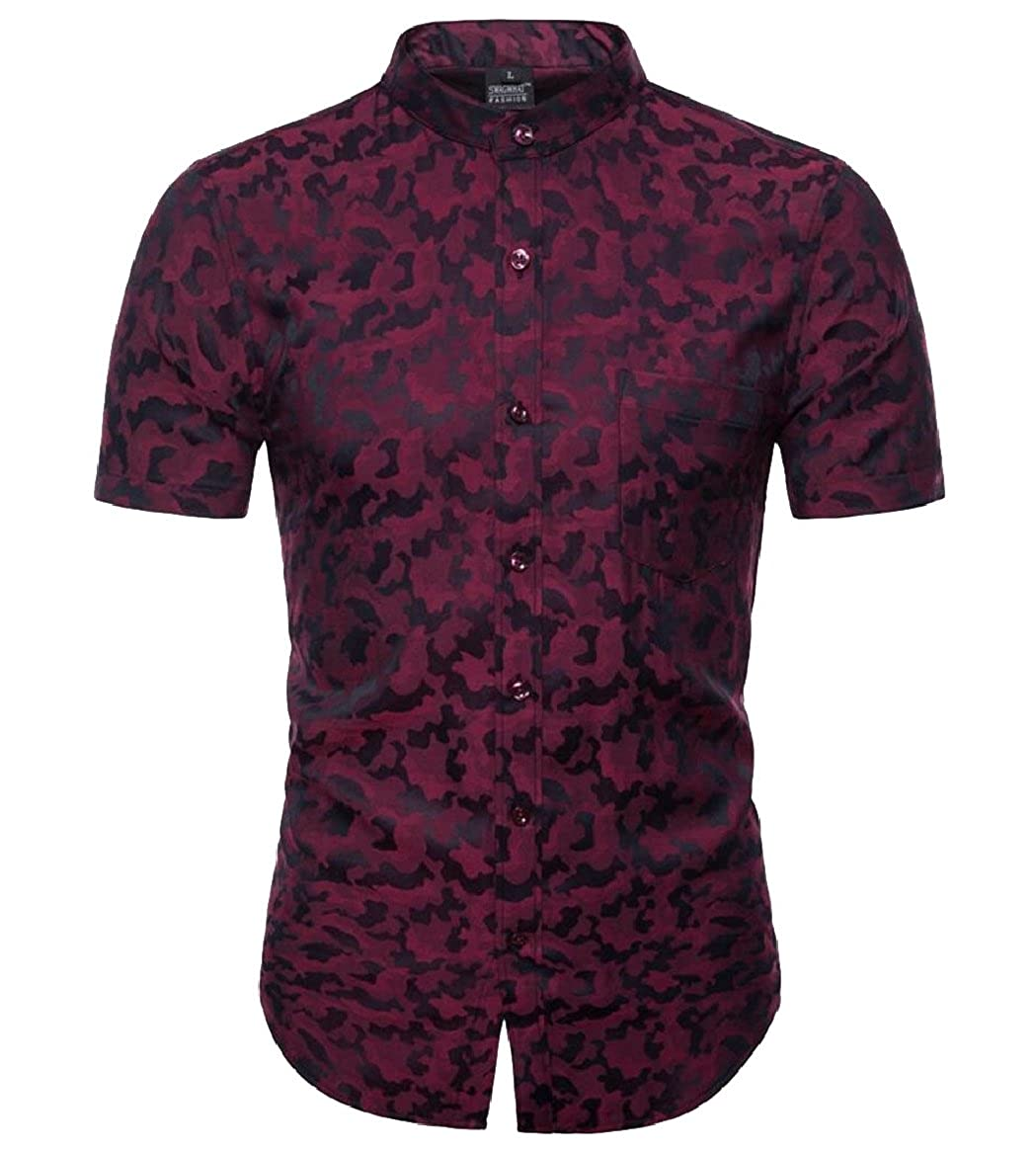 shinianlaile Mens Camouflage Shirt Casual Printed Button Down Short Sleeve Shirts