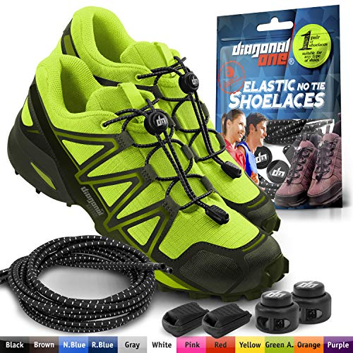 DIAGONAL ONE Elastic Shoe Laces for Men and Women, Compatible with Sneakers, Converse, Trainers, and Casual Footwear - No Tie Shoelaces Suitable for Kids, Adults, Teenagers and Seniors (Black)