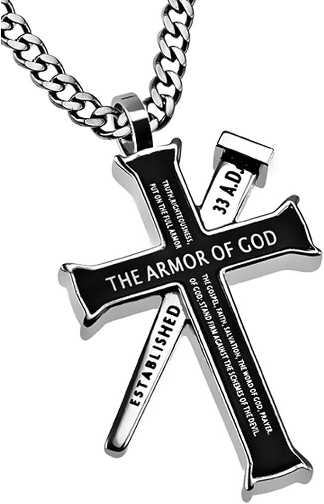 "24/""MEN Stainless Steel 6mm Gold Cuban Curb Necklace Bible Verse Cross Pendant*77"