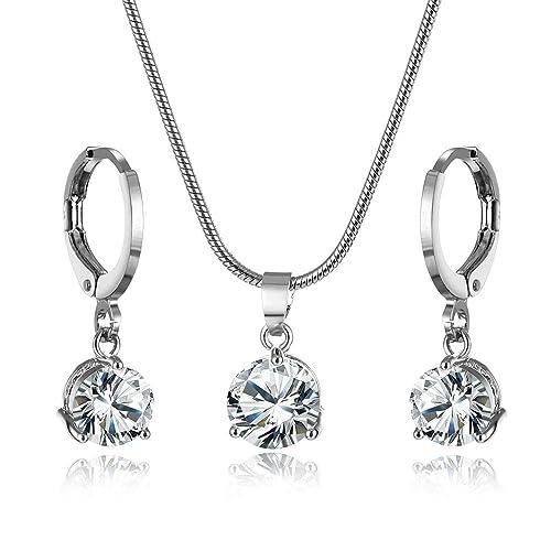 945940b9687a CARSINEL Acero Inoxidable Solitario Zirconia cúbica Aretes Collar clásico  Set de Joyas para Mujer Regalo Ideal