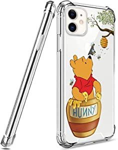 DISNEY COLLECTION Designed for iPhone 11 Case 6.1 Inch (2019) Winnie The Pooh [Shock-Absorbing] [Scratch-Resistant] [Military Grade Protection] Hard PC + Flexible TPU Frame Transparent Cover Case