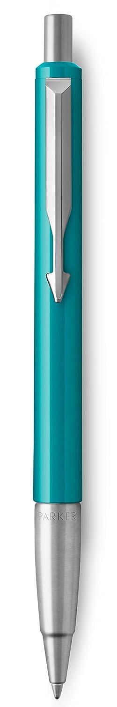 Inchiostro Blu Punta Media Confezione Regalo Parker Vector Penna Roller con Finiture Cromate Bianco