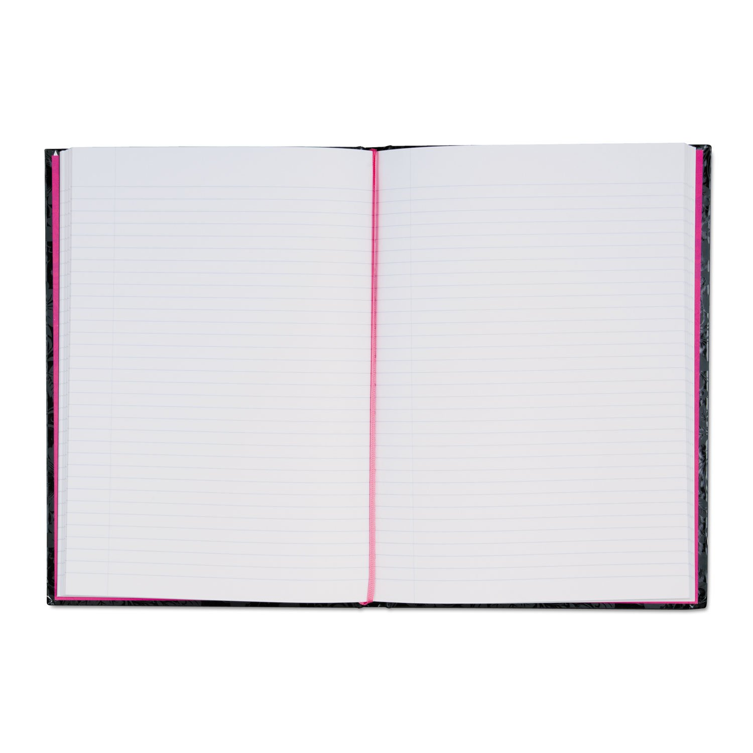 Pink n Black Notebook - 96 Sheet - 24 lb - Ruled - 8.25quot; x 11.75quot; - 1 Each - Black, Pink Paper Black Cover