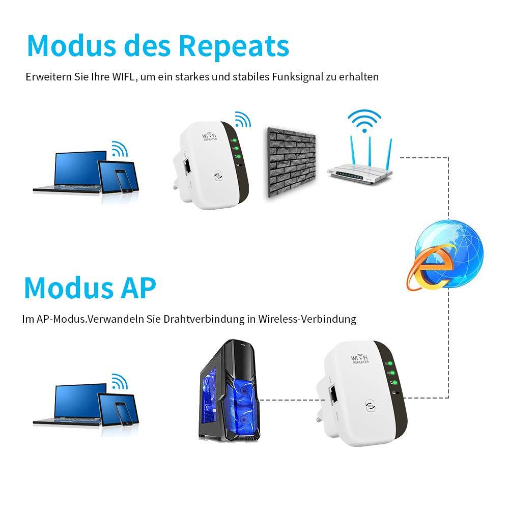 300Mbps Extensor WiFi Amplificador WiFi 2.4GHz con Repertidor//Ap Modo y la funci/ón WPS 1 Puerto Fast Ethernet Wireless Amplificador Repetidor WiFi