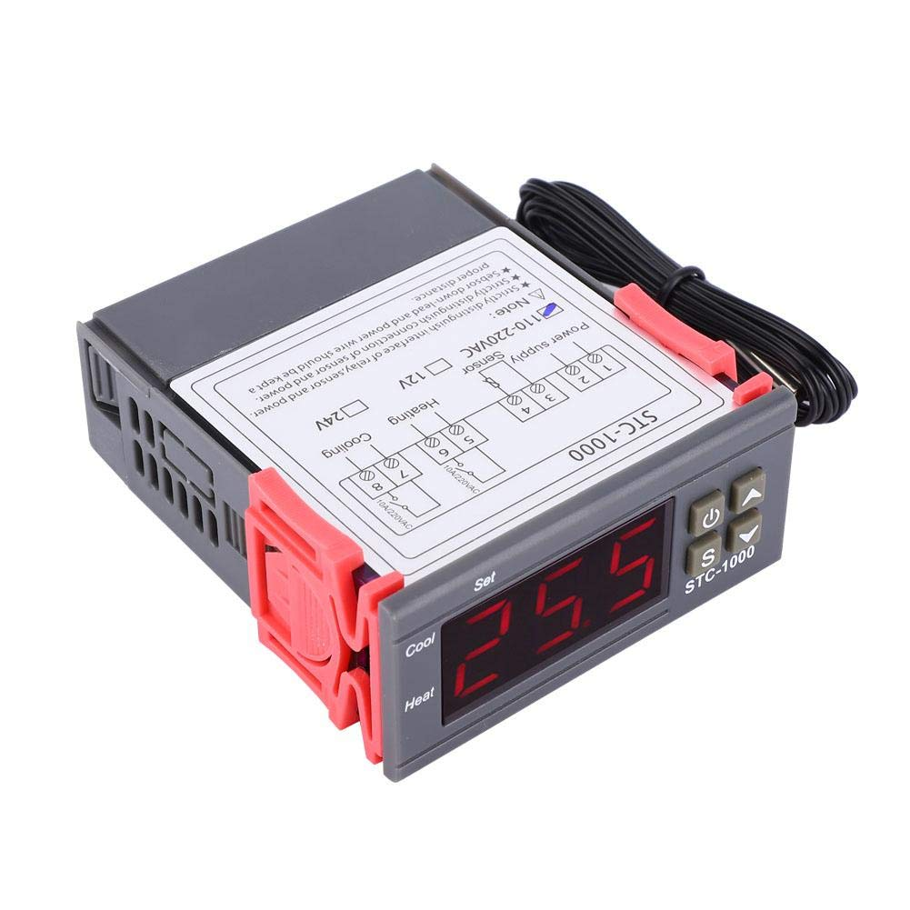 Temperature Controller,STC-1000 Digital Temperature Controller Dual Relay Output Thermostat with NTC Line Length 1M 12V