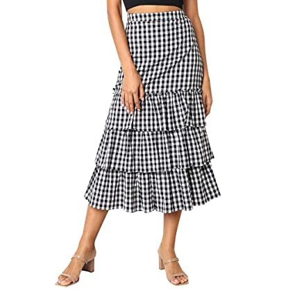 9484ef7c7c Skirt Ladies, Summer Midi Skirt Women Plaid Print Tiered Skirt Casual Dress  Vintage Skirts Party