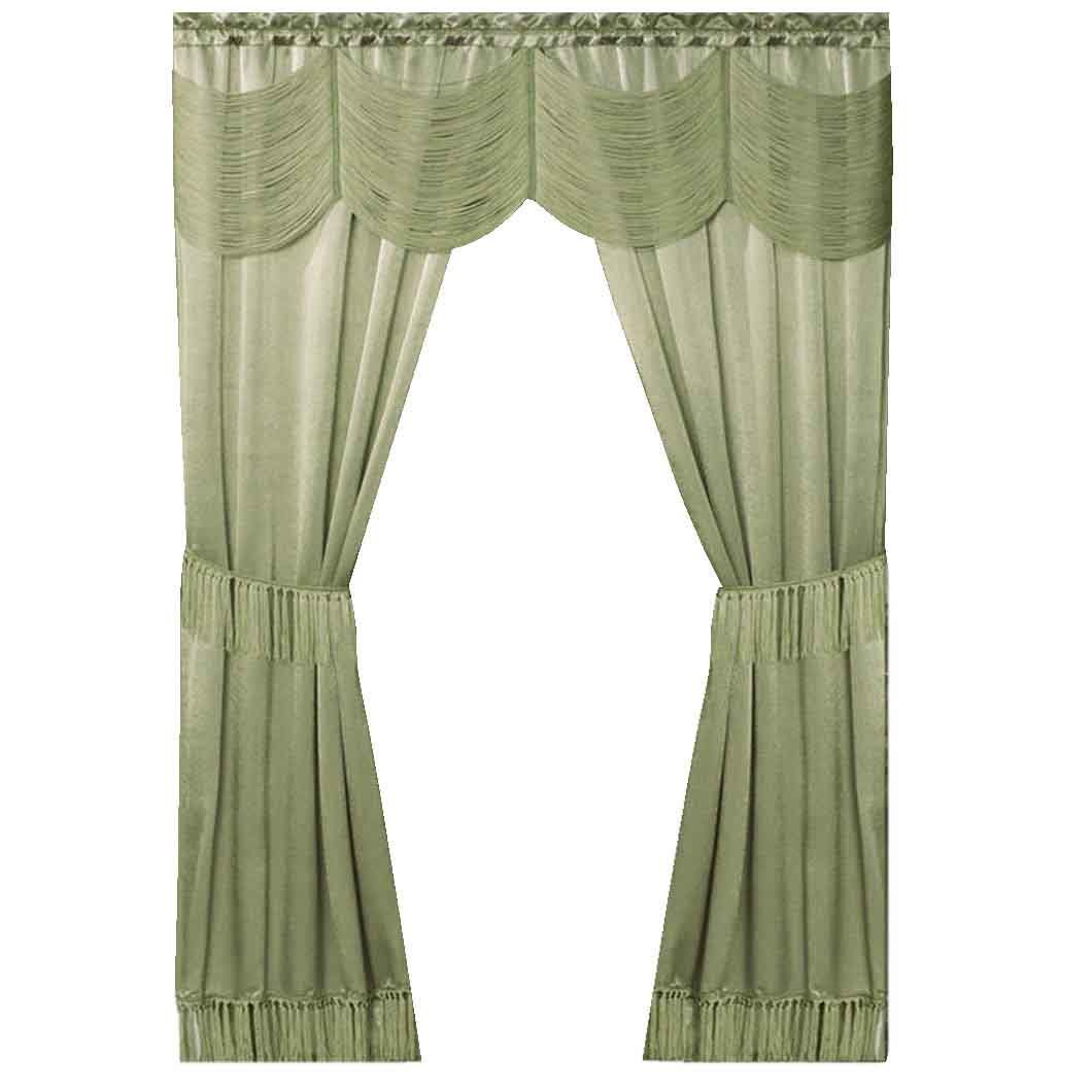 Peach Couture Home Collection Satin 6 piece Window Curtain Set in a Bag With Window Panels Valance Voile Panels Tasseled Tie Backs Sage 56 in x 84 in