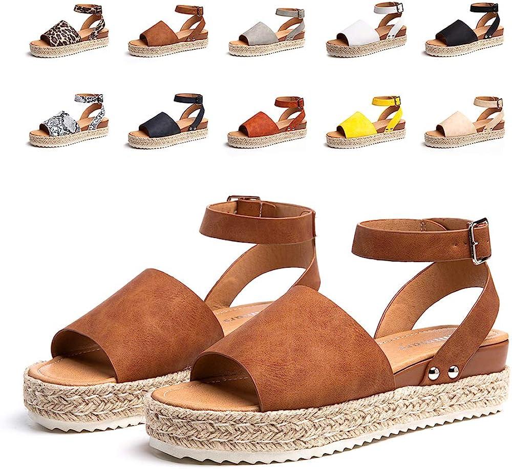 Sandalias Mujer Verano Plataforma Alpargatas Esparto Cuña Zapato HebillaPunta Abierta Comodas Negro Marrón Blanco Leopardo Amarillo Azul Talla 35-43 EU