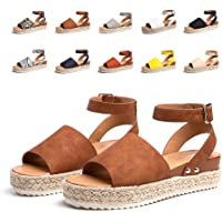 Sandalias Mujer Verano Plataforma Alpargatas Esparto Cuña Zapato Hebilla Punta Abierta Comodas Negro Marrón Blanco…