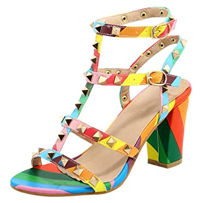 595675e86008b Amazon.com   Vitalo Women's Rivets Studded Mid Block Heel Slingback ...