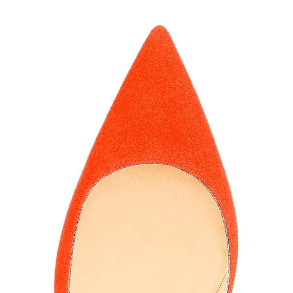 FSJ Women Sexy Suede Pointed Toe Pumps 12 Prom cm High Heels Stilettos Prom 12 Shoes Size 4-15 US B06XC9VCRY 11 B(M) US|Orange fb8086