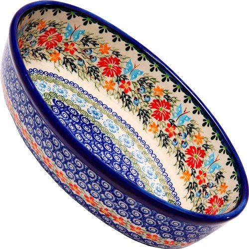 Polish Pottery Ceramika Boleslawiec Oval Mirek Baker 2, 9-2/3-Inch by 6-7/10-Inch, 5 Cups, Royal Blue Patterns with Red Cornflower and Blue Butterflies Motif