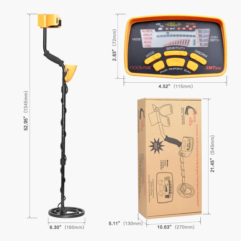 HOOMYA Detector de metales subterráneo profesional, Alta sensibilidad del detector de metales Búsqueda de tesoro Búsqueda Pantalla LCD con tres modos de ...