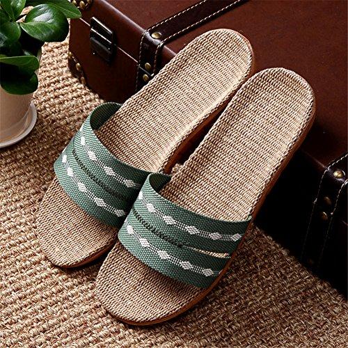Slippers Indoor Holiday Breathable Linen Light Hemp Autumn Spring TELLW Lady Green Summer Women Cotton Men's w7HCfCq