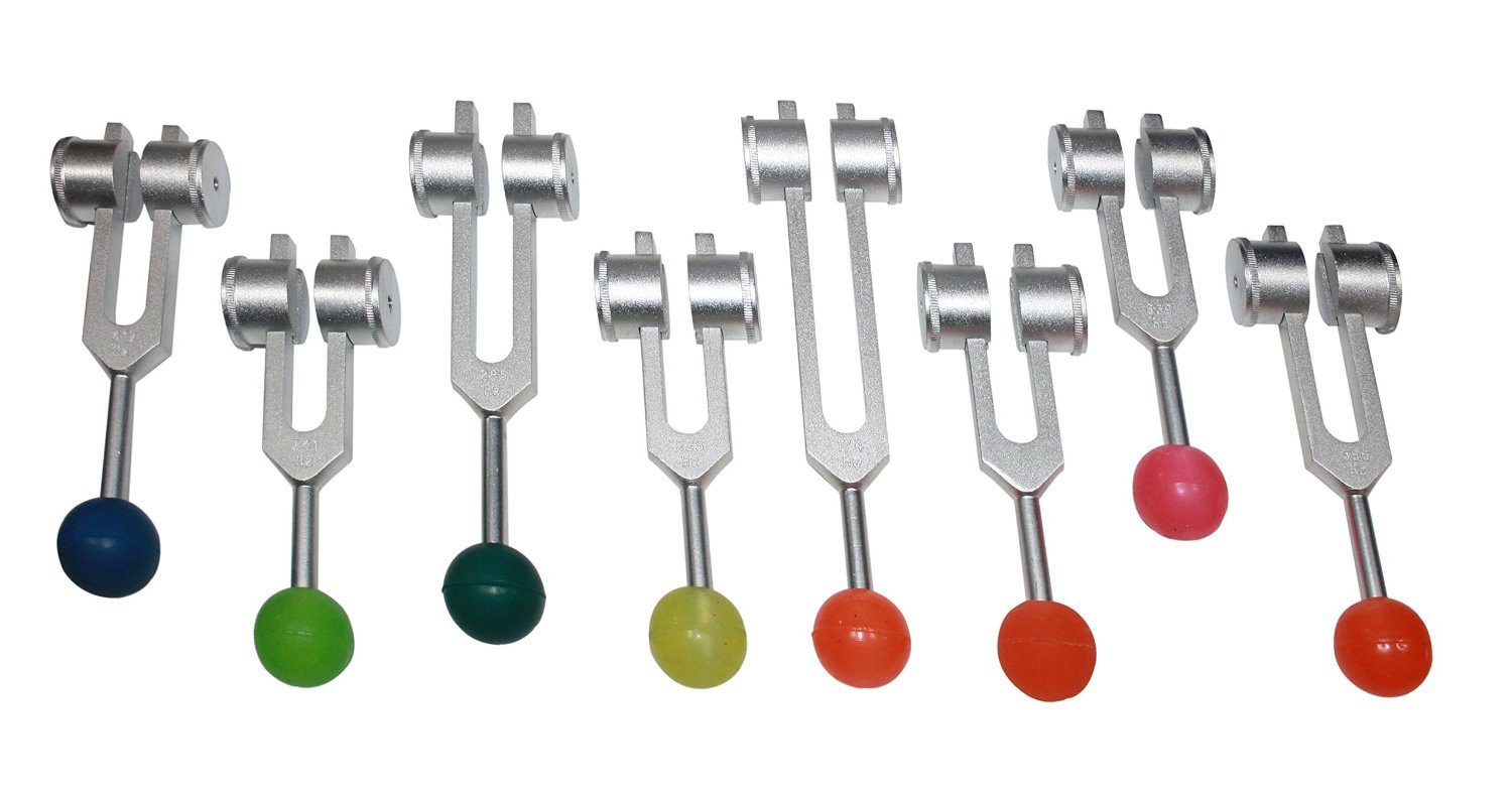Radical 8 Chakra & Soul Purpose Cosmic Weighted Healing Tuning Forks with Colored Rubber Balls, Activator & Pouch