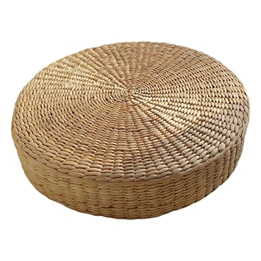 HHOME 40cm Tatami Cushion Round Straw Weave Handmade Pillow ...