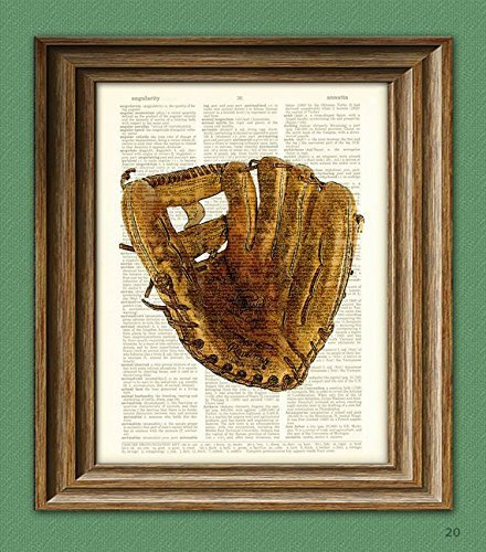 Vintage Baseball Glove Mitt print over an upcycled vintage dictionary page book (Baseball Poster Print)