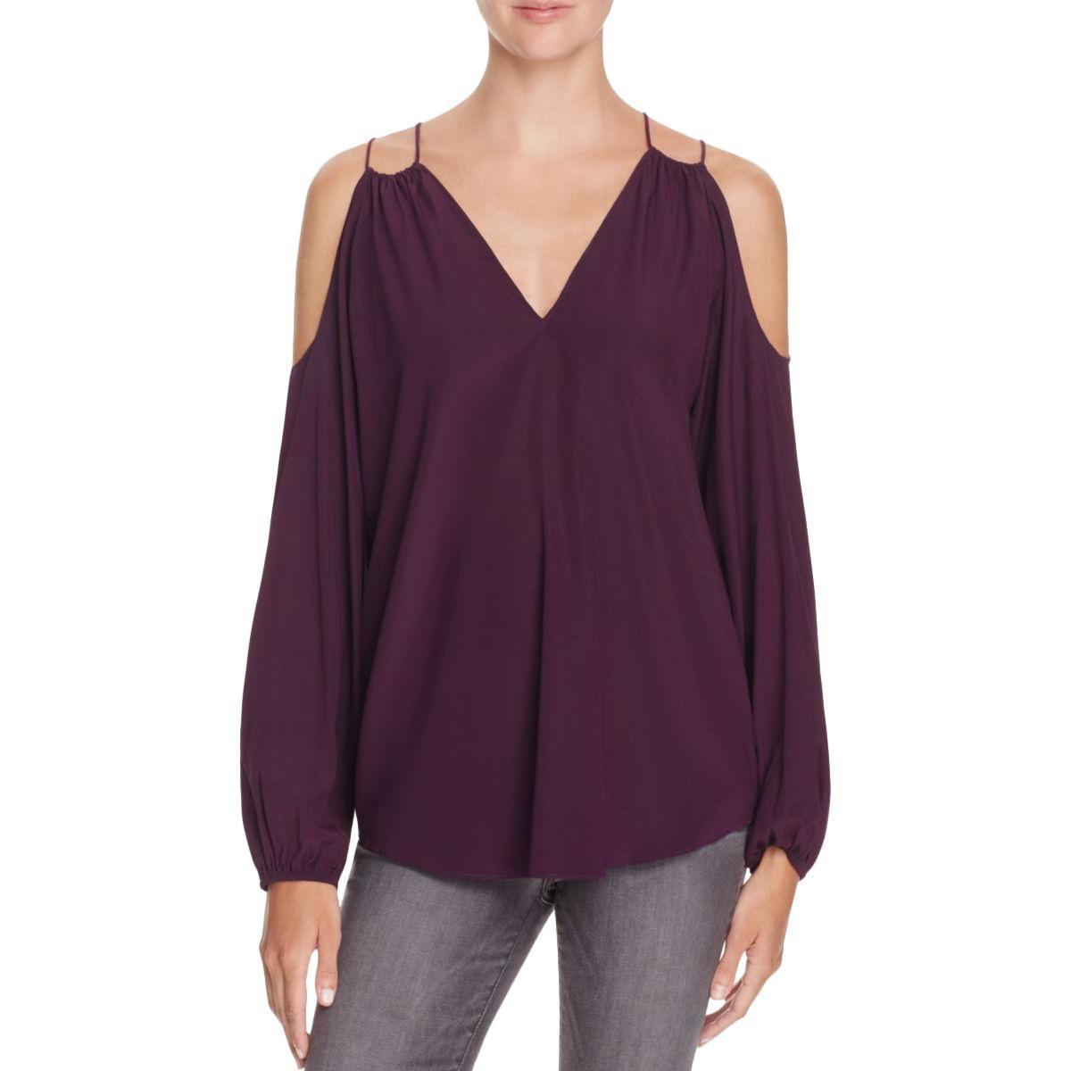 Ramy Brook Womens Gigi Silk Ruched Blouse Purple L