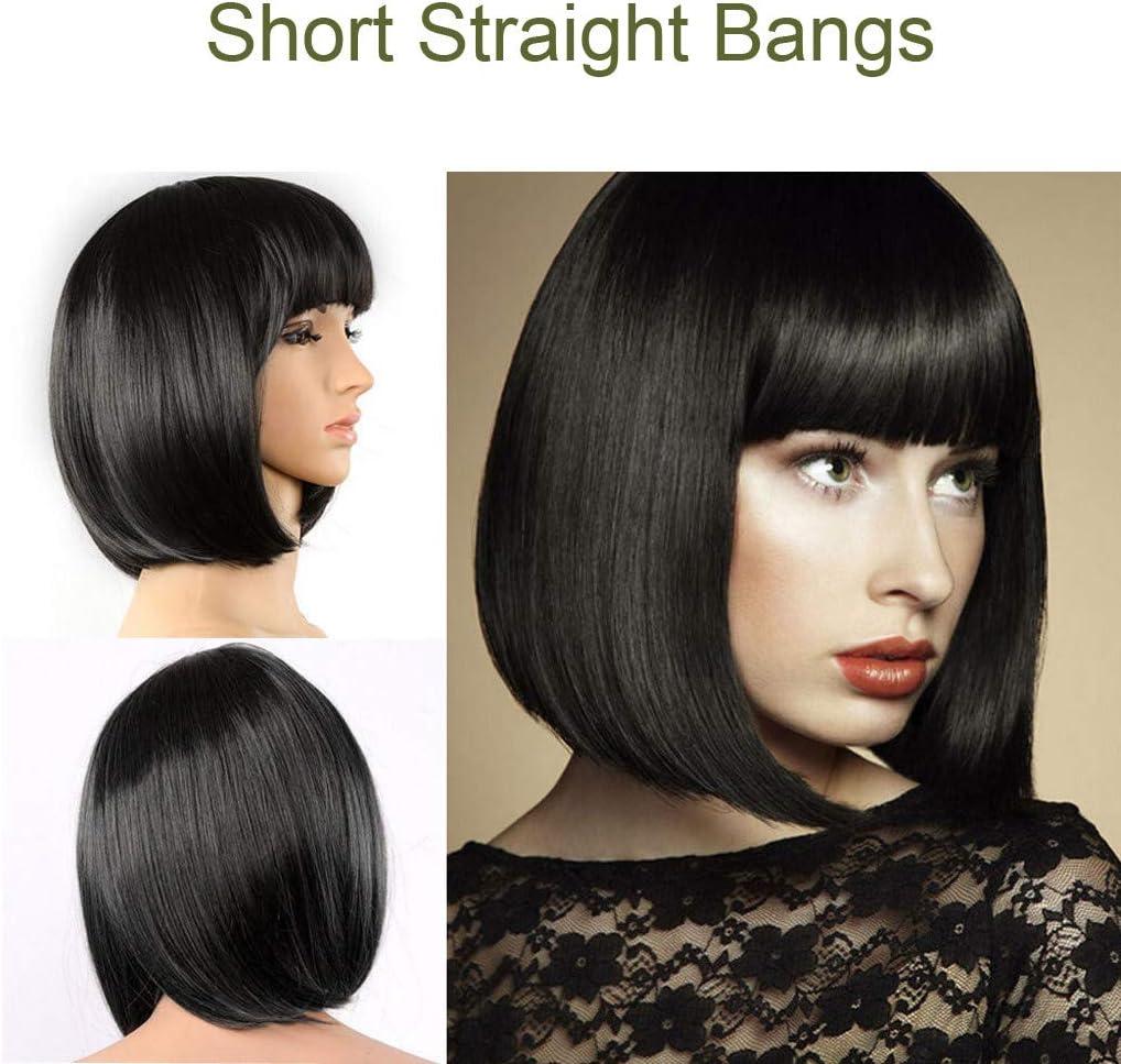Gaddrt - Peluca corta de mujer de pelo corto con flequillo recto, peluca completa, para cosplay o cosplay: Amazon.es: Belleza