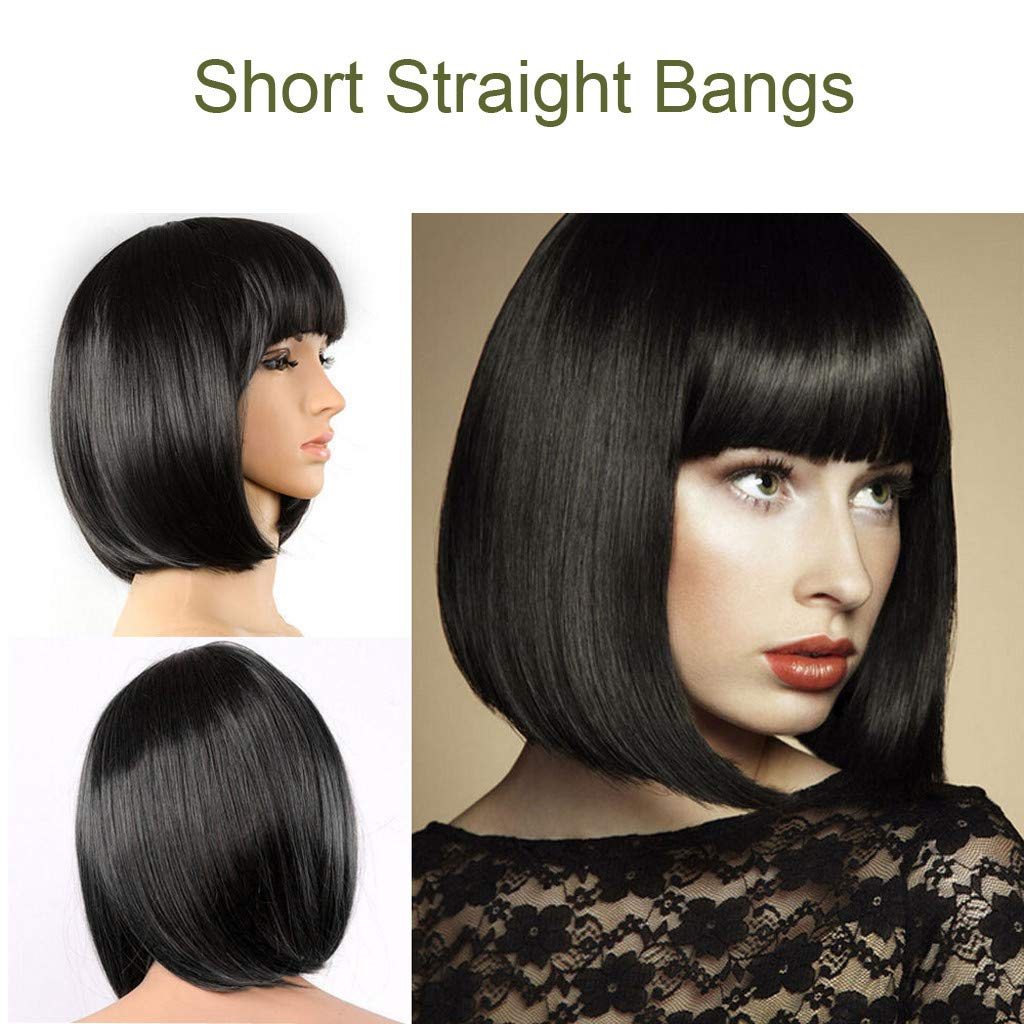 Mr.Macy Lady Girl Wig Women's Short Straight Bangs Full Hair Wigs Cosplay Party