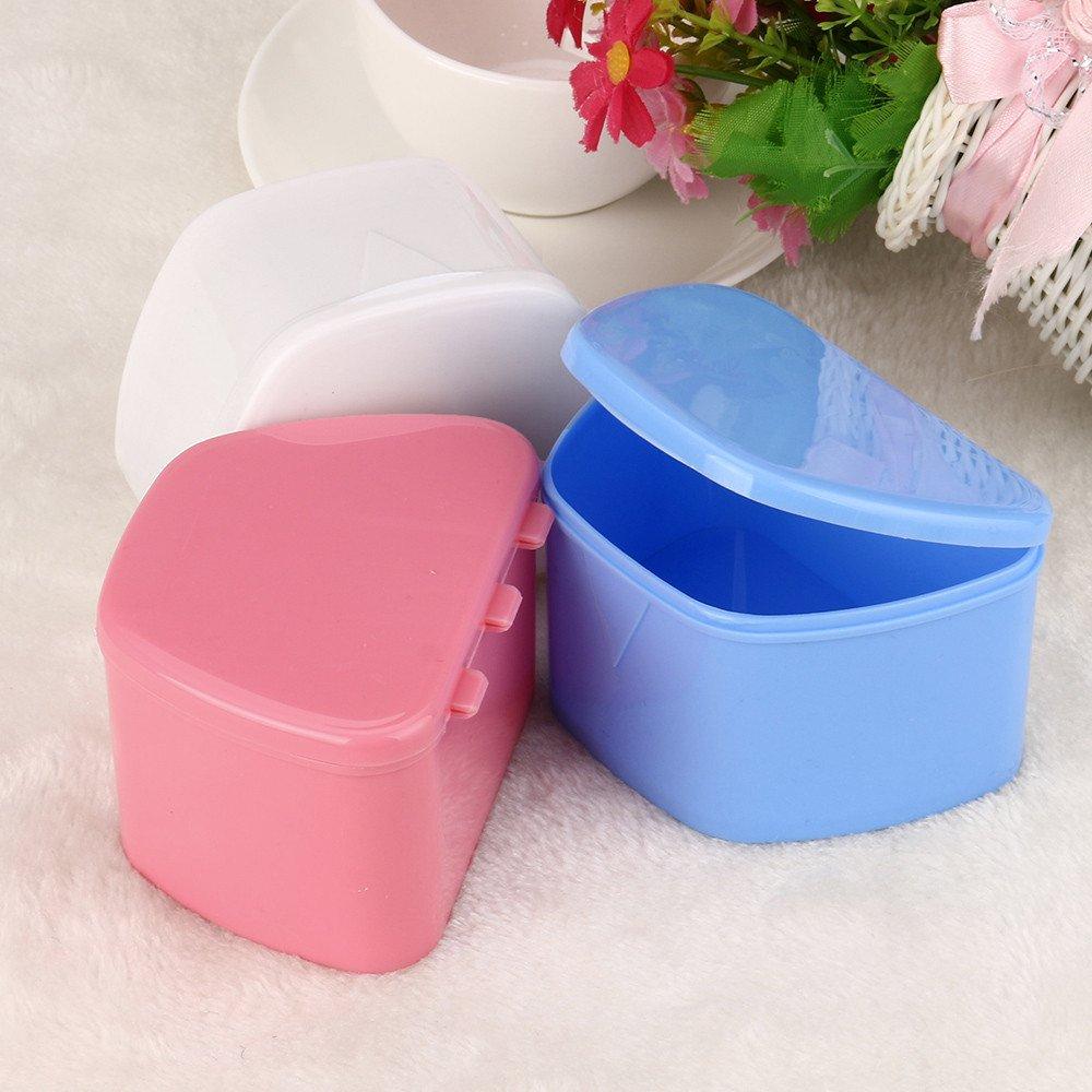 Hohaski Denture Bath Appliance False Teeth Box Storage Case Rinsing Basket Professional Dental Supplies Color Random(White, Blue & Pink) by Hohaski (Image #1)