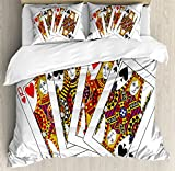 Queen Duvet Cover Set King Size by Ambesonne, Queens Poker Set Faces Hearts and Spades Gambling Theme Symbols Playing Cards, Decorative 3 Piece Bedding Set with 2 Pillow Shams, Black Red Yellow