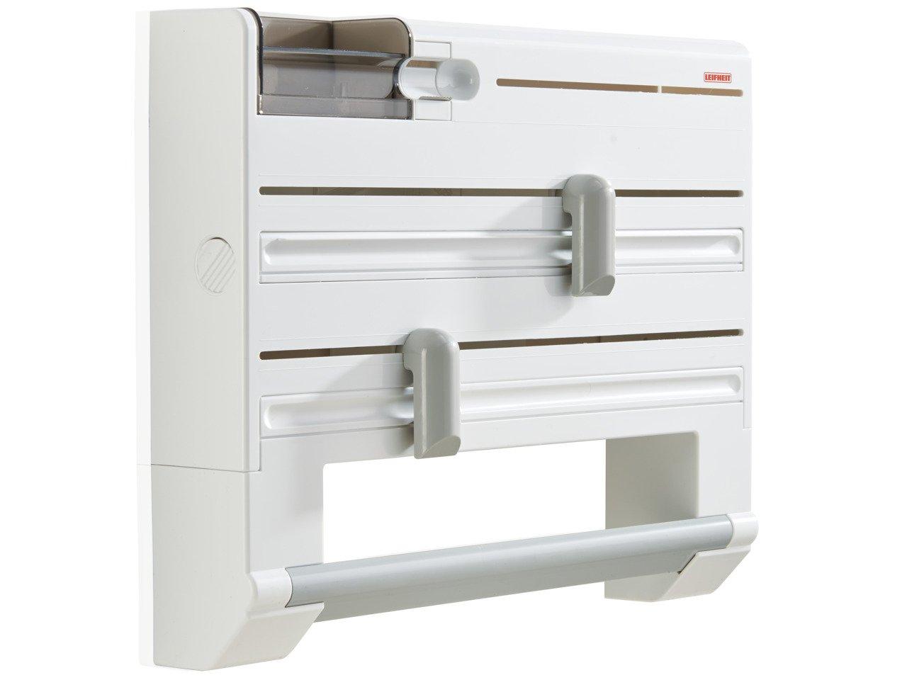 Leifheit Parat Plus Portarotoli da Parete, con Spazio per Pellicole d'Alluminio e Trasparente, Bianco 25723 cucina