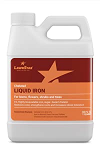 LawnStar Chelated Liquid Iron (32 OZ) for Plants - Multi-Purpose, Suitable for Lawn, Flowers, Shrubs, Trees - Treats Iron Deficiency, Root Damage & Color Distortion – EDTA-Free, American Made