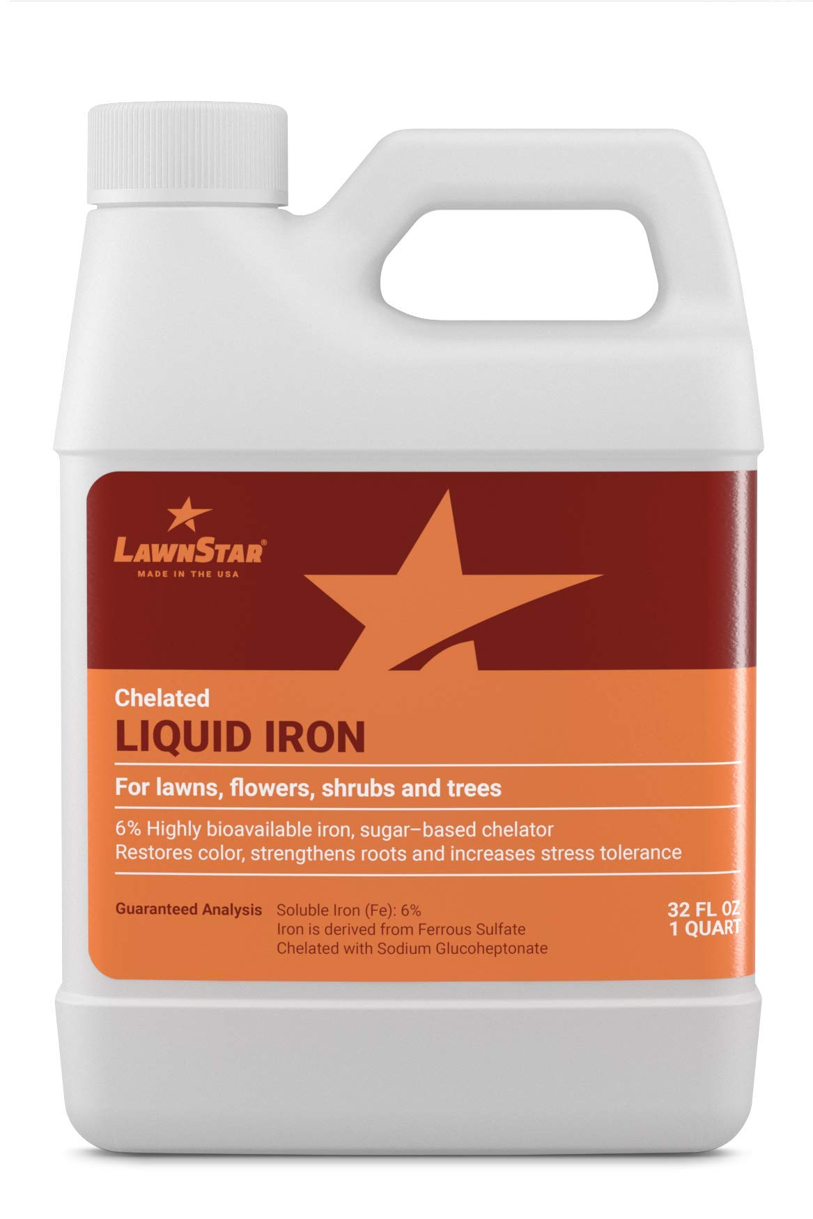 LawnStar Chelated Liquid Iron (32 OZ) for Plants - Multi-Purpose, Suitable for Lawn, Flowers, Shrubs, Trees - Treats Iron Deficiency, Root Damage & Color Distortion - EDTA-Free, American Made