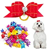 Didog Colorful Multi-pattern Pet Cat Dog Hair Bows,Classic Topknot Dog Grooming Accessories 50 Pcs for Groomer Using