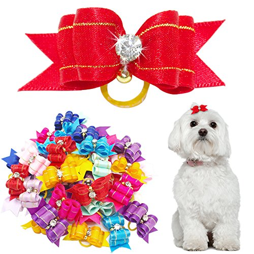 Didog 50 Pcs Mixed Color Rhinestone Bling Pet Cat Dog Hair Rubber Band Bows Grooming Accessories