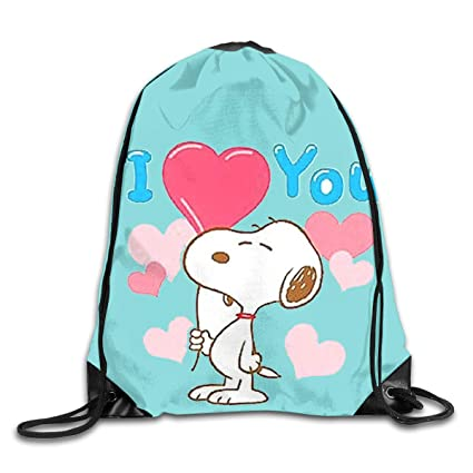 f832c47f7891bb Image Unavailable. Image not available for. Color  Meirdre Unisex Love You Snoopy  Sports Drawstring Backpack Gym Bag