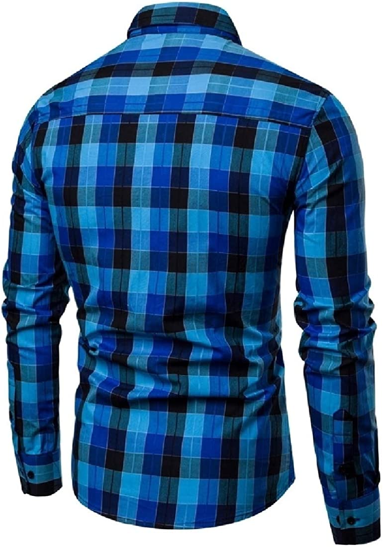 YUNY Mens Jacket Casual Plaid Tops Simple Long-Sleeve Dress Shirt Blue S