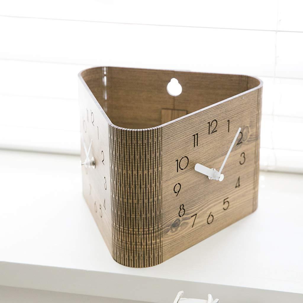 Xq Modern Minimalist Brown Double-Sided Wall Clock Living Room Bedroom Home Clock Digital Deskclock by Xq