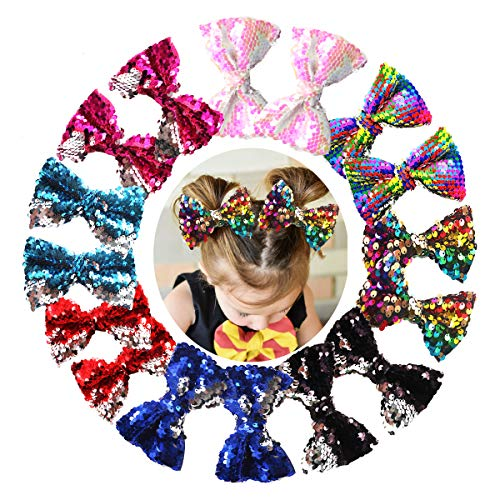 16PCS 5Inch Reversible Sequin Bows with Alligator Hair Clips Sparkly Sequin Glitter Pigtail Hair Bows for Girls Toddlers Kids Children in Pairs (Bow Large Sequin)