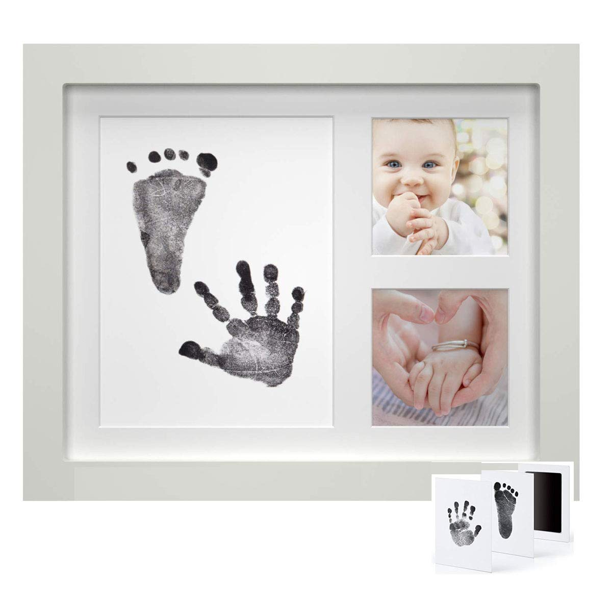 Dproptel Unique Baby Handprint and Footprint Photo Frame Kit Baby Shower Gifts for Newborn Boys and Girls with Prints Paper and Clean Touch Ink Pad to Create Baby Hand and Foot Prints Brown