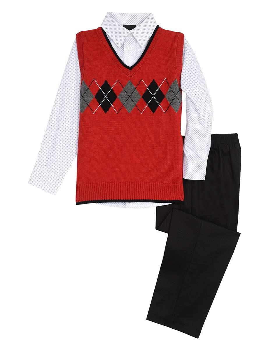 TFW Dresswear Little Boys' Sweater Vest Set, Dark Roasted Rouge, 7