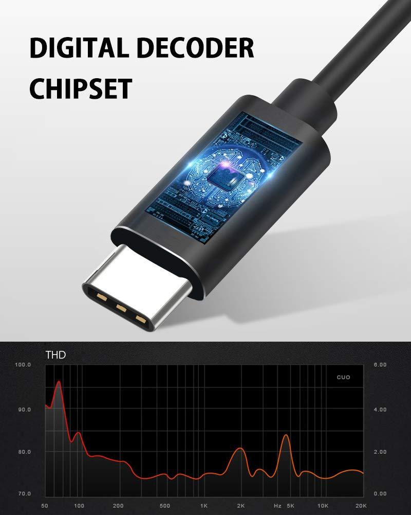 QianWei USB Typ C Digitalkopfhörer mit Mikrofon und Kabelsteuerung (Semi-in-Ear)